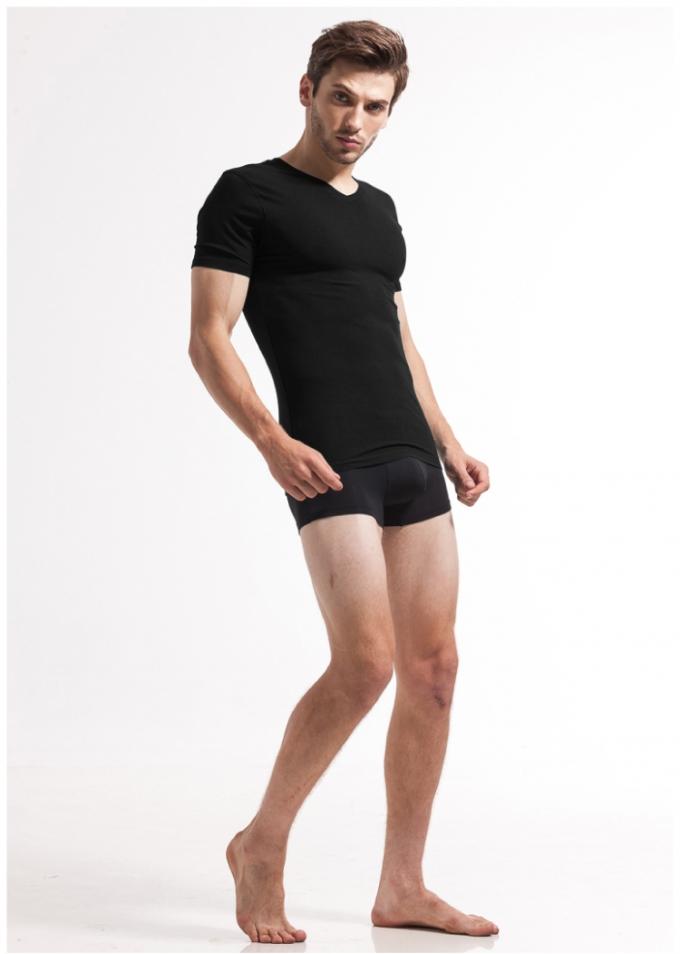 【安希娅】竹纤维男式V领T恤S6502