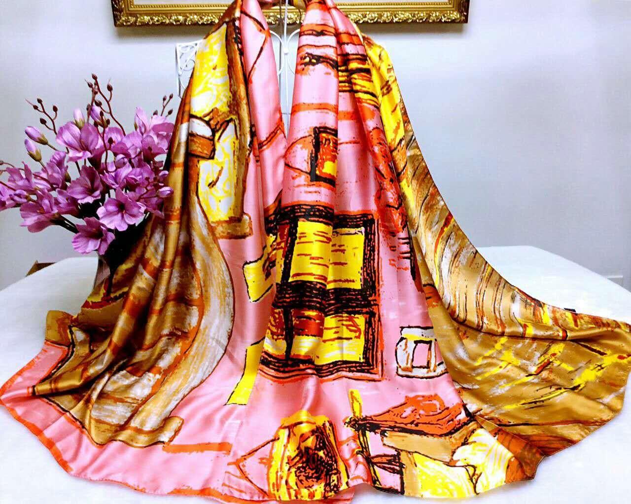【安希娅】全桑蚕丝围巾W8123