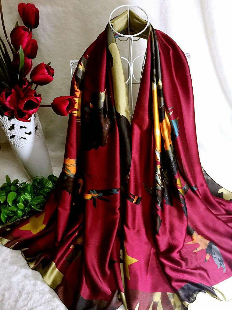 【安希娅】全桑蚕丝围巾W8129